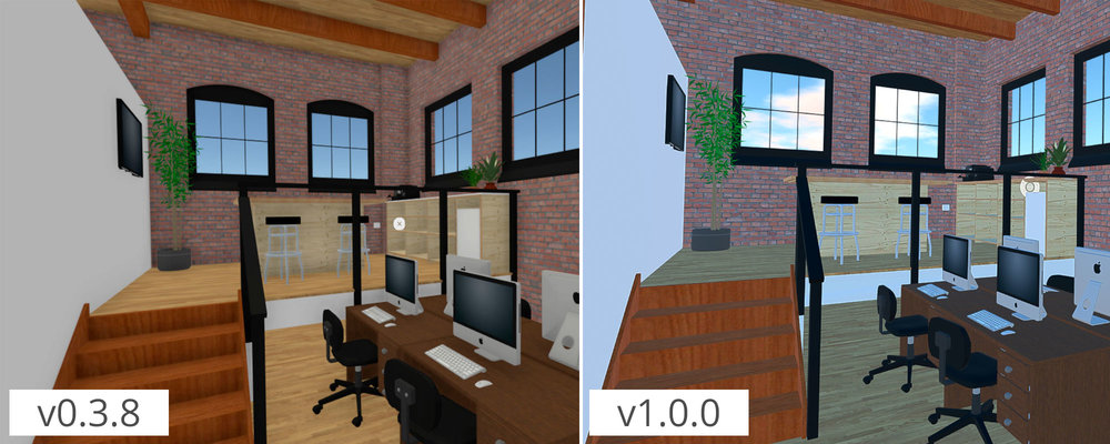 A comparison of our old beta build on the left and our release build on the right.